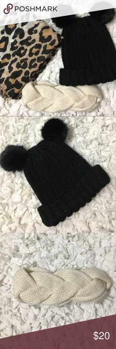 H&M Winter Accessories 1 beanie with pompom ears - NWOT 1 woven headband - NWOT 1 leopard scarf H&M Accessories