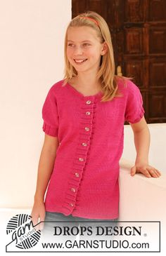 "DROPS jacket with short sleeves in ""Muskat"". Size 7 - 14 years. ~ DROPS Design"