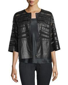 Sabina Leather 3/4-Sleeve Jacket, Black