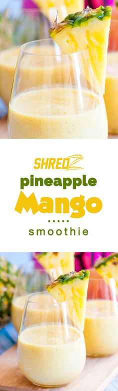How yummy does this Pineapple Mango smoothie look!? Tag a smoothie lover! #shredz #healthy #smoothie