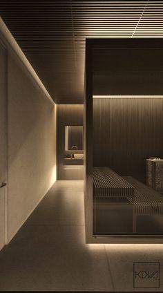 3 Minimalist Monochromatic Homes With Modern Lighting illuminated-living-cubicles-slatted-wood-finish-industrial-bedroom Modern Lighting Design, Interior Lighting, Lighting Ideas, Spa Lighting, Architectural Lighting Design, Modern Lamps, Light Design, Custom Lighting, Gym Interior
