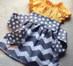 """Yellow & Gray Chevron Dress """"Suzie"""" Peasant Dress in Gold and Grey and White Chevron - MADE TO ORDER - EtsyKids Team - Size 2T 3T 4T 5/6 7/8"""
