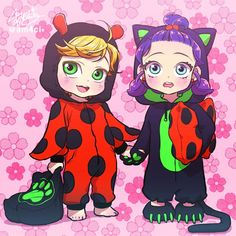 cute chibi / kids marinette and adrien having a sleepover (Miraculous Ladybug)