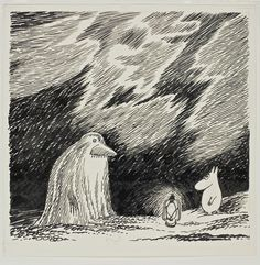 """""""The Groke from Moominpappa at Sea,"""" Tove Jansson, © Moomin Characters™; From the Tampere Art Museum, Moominvalley Collection, Photo: Jari Kuusenaho. Tove Jansson, Moomin Books, Moomin Valley, His Dark Materials, Book Illustration, Illustrations, New Art, Art Museum, Drawings"""