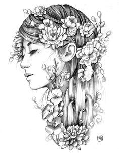 Cascade by Artist Amy Dowell Woman Floral Artwork Canvas Art Print
