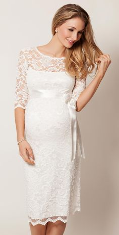 Amelia Lace Maternity Dress Short (Ivory) - Maternity Wedding Dresses, Evening Wear and Party Clothes by Tiffany Rose.