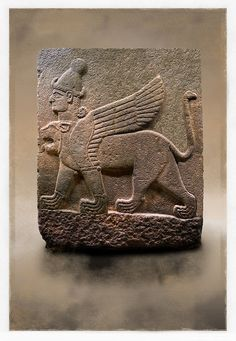 Picture & image of a Neo-Hittite orthostat describing the legend of Gilgamesh from Karkamis,, Turkey. Museum of Anatolian Civilisations, Ankara.. A three headed Sphinx which is a winged lion with a human heas and a bird of prey's head on the end of its tail 6