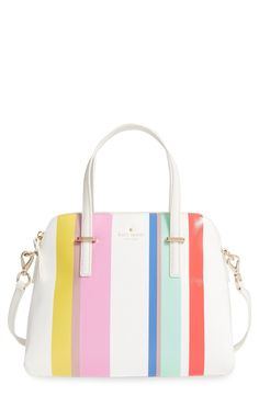 Candy-colored stripes add such a sweet touch to this domed satchel Kate Spade!