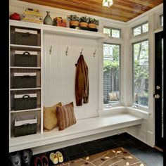 Love this entryway/mud room idea