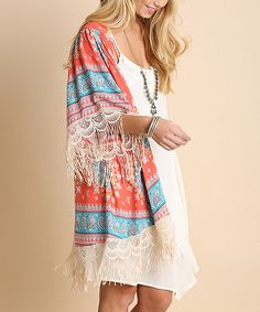 Look at this On Trend Coral Paisley Fringe-Trim Kimono on #zulily today!