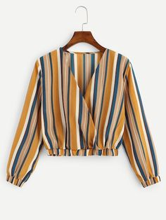 Young Boho Striped Regular Fit V Neck Long Sleeve Pullovers Multicolor Crop Length Surplice Front Striped Tee Girls Fashion Clothes, Teen Fashion Outfits, Hijab Fashion, Trendy Outfits, Fashion Dresses, Clothes For Women, Fashion Top, Emo Fashion, Fashion Styles