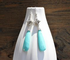 Turquoise earrings Arizona turquoise Unique by ArtfulHummingbird, $118.00