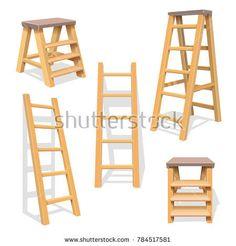 Stock Photo: Wood household steps. Isolated wooden ladder set. Wooden ladder construction, stepladder illustration of set -