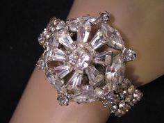Wedding Bracelet, Vintage Rhinestone, Vintage Brooch, Stretch, Silver,Upcycled, Statement, OOAK, Stretch, One Size Fits All - Princess Bride