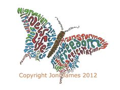 Butterfly Typography Word Art Calligram Drawing by CalligramORama, $19.50