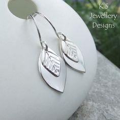 Double Leaf Drop Sterling Silver Earrings - LEAVES - Handmade Handstamped Dangly £32.00