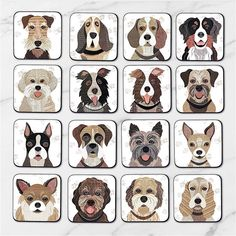 Quirky dog coasters featuring the unique collage designs by artist Simon Hart created using tweed fabrics, vintage papers and sheet music. Choose from 64 different breeds of dogs to have on your coasters. Numbered 1 - 64 the images can be seen in a series of photographs on this listing. HOW TO SELECT YOUR COASTER/COASTERS a) In the first drop down menu select either a single coaster or a set of 4, 6 or 8 coasters. b) In the 2nd drop down menu if you just require a single coaster simply ...
