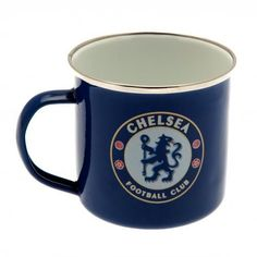 Enamel Chelsea FC tin mug in club colours and featuring the club crest. Great to use as a camping mug. FREE DELIVERY on all of our football gifts Chelsea Football, Chelsea Fc, Chelsea Wallpapers, Online Gifts, Tin, Camping, Colours, Club, Mugs