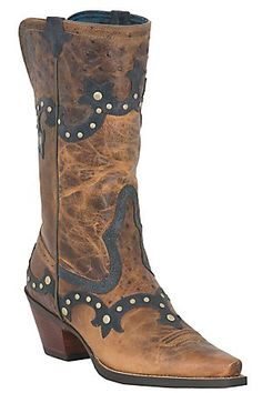 Ariat Rogue Ladies Distressed Brown w/ Ostrich Print Studded Snip Toe Western Boot