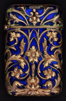 Silver Smalls:Match Safes, A GEORGES LE SACH� TIFFANY GOLD AND ENAMEL MATCH SAFE . Georges leSaché, Paris, France, circa 1900. Marks: LS within di...