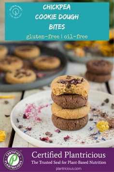 Gooey and soft Plantricious Certified gluten free chickpea cookie dough bites that are refined sugar free, oil free, quite low fat and Candida diet friendly. Chickpea Cookie Dough, Chickpea Cookies, Plant Based Whole Foods, Plant Based Recipes, Whole Food Diet, Whole Food Recipes, Plant Based Nutrition, Candida Diet, Gluten Free Cookies