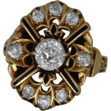 14k Yellow Gold Victorian Style Diamond Ring with Enamel