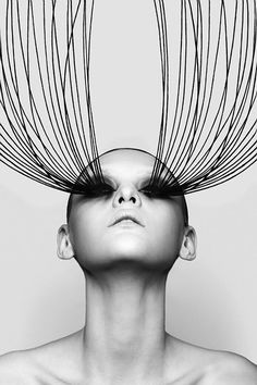 strangelycompelling: Photographer- Grant Yoshino SC | Portrait - Fashion - Extra Long Lashes - Black and White Photography - Pose