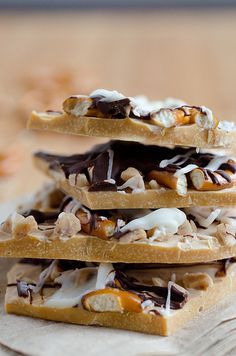 salted caramel bark with chocolate, toffee, and pretzels