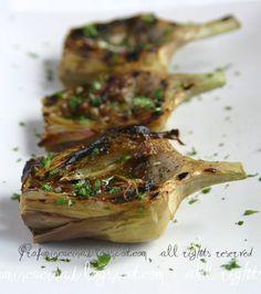 Neapolitan Artichokes cooked on hot coals. (Carciofi alla brace).