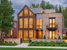The Fray Guitarist's Wash Park Home - Colorado Homes & Lifestyles Modern Basement, Modern Contemporary Homes, Exposed Brick Walls, Modern Farmhouse Exterior, Colorado Homes, Park Homes, House Built, Celebrity Houses, House Prices