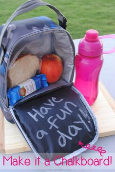 Add a chalkboard to your lunch box. It's fast and easy and your kids will love this!