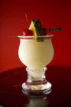 I Need One of These! ~ Malibu Express (2 oz. white rum 1 oz. coconut rum 4 oz. crushed pineapple, plus wedges ½ oz. fresh lime juice 1 oz. cinnamon syrup Maraschino cherries)