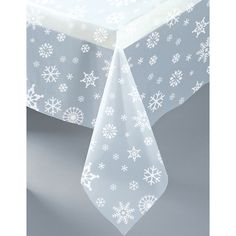 Snowflakes Clear Plastic Tablecover (1ct)