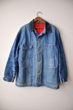 473b3e6d872 Vintage 1940 s Men s Denim Jacket Work Wear 46 Inch Chest by bfyvintage on  Etsy Denim Jacket