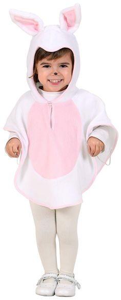 Déguisement lapin enfant : Ce déguisement delapinpour fille se compose d'un poncho, avec capuche, blanc et rose qui se ferme à l'aide d'un bouton situé au niveau du cou (Chaussures,...