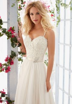 Morilee Bridal Madeline Gardner Scalloped Alençon Lace Edging and Appliqués with Crystal Beaded Straps and Soft Tulle Skirt Wedding Dress