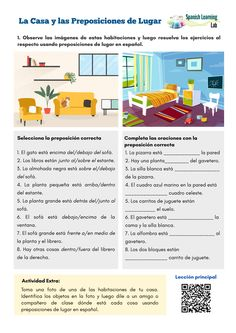 The House and Prepositions of Place - Spanish Worksheet PDF - SpanishLearningLab Spanish Grammar, Spanish Vocabulary, Spanish English, Spanish Language Learning, Spanish Teacher, Spanish Classroom Activities, Spanish Teaching Resources, Vocabulary Activities, Spanish Lesson Plans