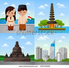 Travel to Indonesia. Bali. Indonesian people in national dress. Woman and man with flag. Cityscape, temple. Square vector illustration. Web banners. - stock vector