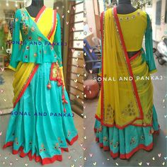 Beautiful powder blue color gotta patti lehenga with yellow and powder blue color combination peplum jacket blouse . Whatsapp for further details at . New Blouse Designs, Stylish Blouse Design, Blouse Back Neck Designs, Saree Blouse Patterns, Designer Blouse Patterns, Indian Designer Outfits, Designer Dresses, Lehnga Dress, Pakistani Dress Design