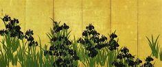 大琳派展 ~美術展めぐり MYセレクション  「燕子花図屏風」 《国宝》  『伊勢物語』第9段、失意のうちに東国に下っていく主人公の在原業平は、三河の国の八橋で一面に咲く燕子花(かきつばた)を見て、「から衣 きつつ慣れにし つましあれば はるばる来ぬる たびをしぞ思ふ」という望郷の歌を詠んで涙します。この歌には5・7・5・7・7の頭に「か・き・つ・ば・た」を詠み込まれているそうです。光琳は『伊勢物語』の「八橋」に由来する燕子花や燕子花と八橋をミックスした作品を数多く残しています。 この作品は光琳が40歳代中ごろのもので、比較的初期の代表作といえます。