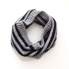 Striped Black & Gray Winter Knit Cowl Scarf - Handmade Winter Accessory or Gift - ElainesCollection