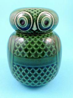 Vintage Hornsea Pottery Green Owl Storage Jar by John Clappison
