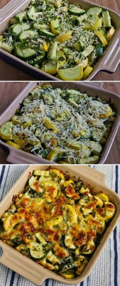 You'll love this Low-Carb Easy Cheesy Zucchini Bake which is most popular zucchini recipe of the Top Ten Low-Carb Zucchini Recipes on Kalyn's Kitchen! Healthy Side Dishes, Vegetable Side Dishes, Vegetable Recipes, Vegetarian Recipes, Cooking Recipes, Healthy Recipes, Low Carb Zucchini Recipes, Quiche, Pescatarian Recipes
