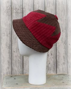 Cloche Hat Red and Brown Patchwork by GreenTrunkDesigns on Etsy