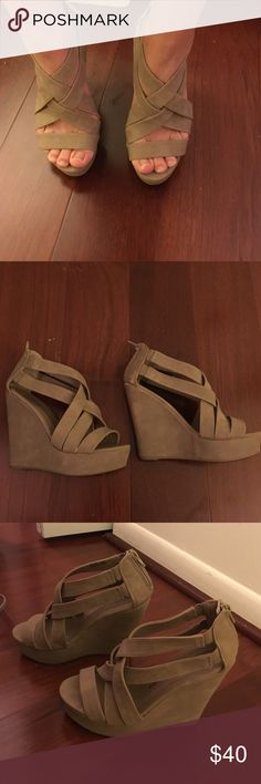 Chinese Laundry nude wedges Chinese laundry nude strappy/stretch zipper back wedges! The most comfortable wedges you will ever own and the best color! Chinese Laundry Shoes Wedges