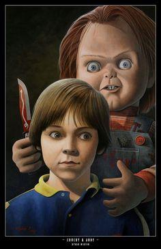 "Horror Movie Art : Child's Play, 1988 ""Chucky & Andy"" by Byron Winton Horror Icons, Horror Films, Arte Horror, Horror Art, Horror Drawing, Freddy Krueger, Chucky Movies, Childs Play Chucky, Arte Ninja"