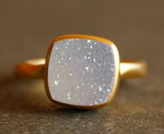 Gold White Druzy Ring