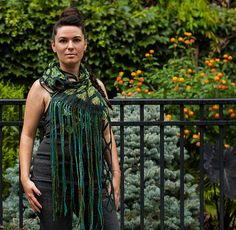 Felted Scarf Merino Wool and Silk Chiffon with Dread by blckbts