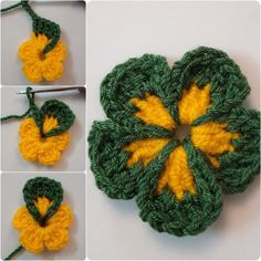 How To Crochet Folded Petals Flower - curlingiron Crochet Flower Tutorial, Crochet Flower Patterns, Crochet Designs, Crochet Flowers, Knitting Patterns, Motif Mandala Crochet, Crochet Motifs, Crochet Squares, Crochet Stitches