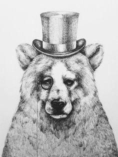 Illustration - Black and white, Bear O.-